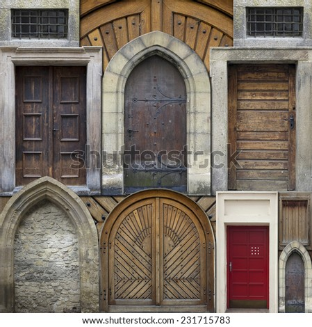 old entrance gates - old doors - stock photo