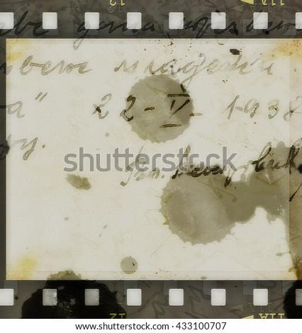 old film strip grunge background, texture - stock photo