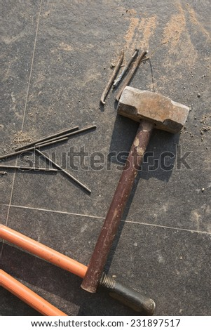 old hammer - stock photo