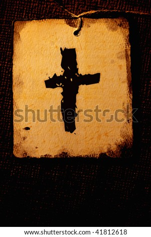 Old Holy cross flag - stock photo