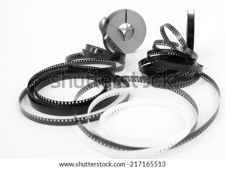 old 8mm cine film and reels - stock photo