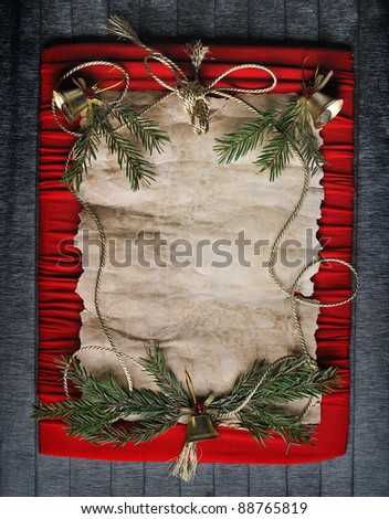 old paper  bordering  with christmas decoration - stock photo
