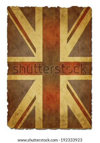 Old  paper Union Jack Flag on white background - stock photo