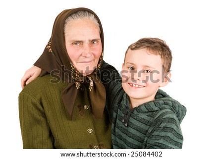 old peasant woman isolated on white background - stock photo