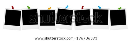 7 old photos in series with colored pins - stock photo