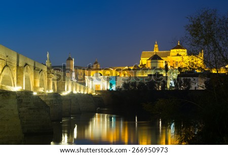 Old roman bridge and  Mosque-cathedral of Cordoba in night time.  Spain - stock photo