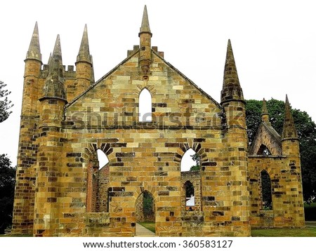 Old sandstone church. Built by convicts at Australia's first penal colony in Port Arthur Tasmania.         - stock photo