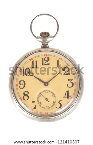 old style pocket watch, isolated on white - stock photo