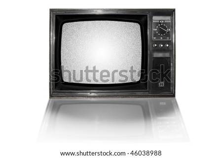 Old  television, dusty and dirty. Isolated on white. Some static noise added on the screen in post-production. - stock photo