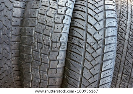 old tires as background        - stock photo