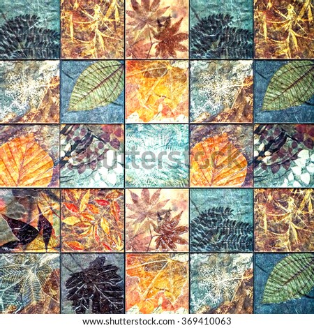 Old wall ceramic tiles patterns handcraft from thailand road park public.                               - stock photo
