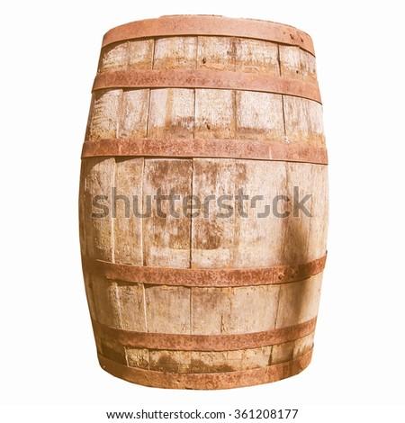 Old wooden barrel cask for whisky or beer or wine vintage - stock photo