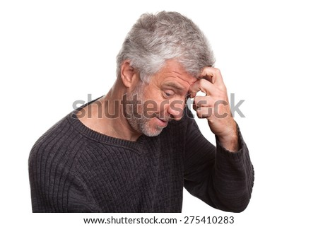 older man cunning gray hair isolated on white background - stock photo