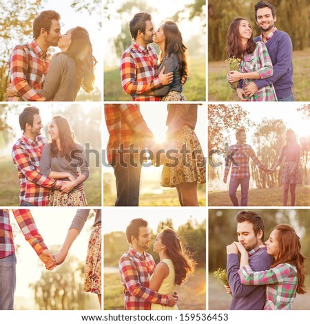 ?ollage young couple in love walking in the autumn park at sunset. - stock photo