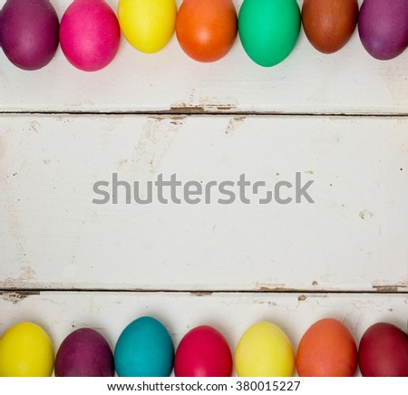 ?olored Easter eggs. Selective focus. - stock photo