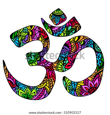 Om multicolor Ornament symbol. Pattern. Vintage decorative  elements isolated. Hand drawn Indian mehendi.  Hindu symbol. Tattoo, yoga, spirituality, textiles, T-shirt printing - stock photo