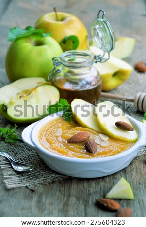 ?ompote of apples and almonds .Healthy lifestyle - stock photo