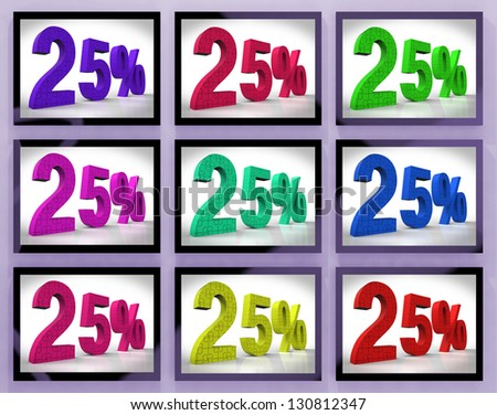 25% On Monitors Shows Special Offers And Reductions - stock photo