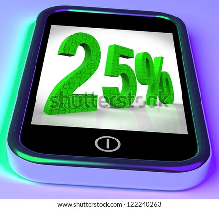 25% On Smartphone Shows 25 Percent Off And Clearances - stock photo