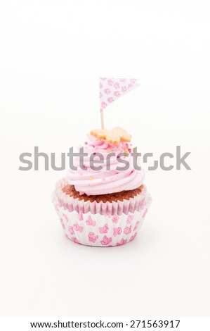 one beautiful pink and violet cupcake on the white - stock photo