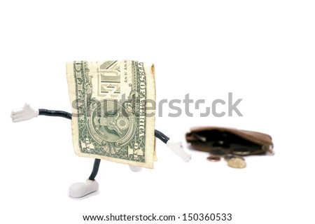 one dollar  escaping from a purse - stock photo