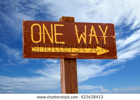 """one way"" wooden signpost in a blue cloudy sky - stock photo"