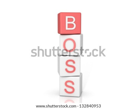 Ã?Â??onstruction of cubes with an inscription the BOSS - stock photo