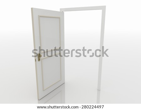Open door isolated on white background and reflective white floor. - stock photo