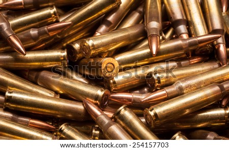 223 or 5.56mm x 45 full metal jacket m193 military ball ammunition - stock photo