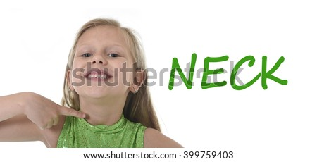 6 or 7 years old little girl with blond hair and blue eyes smiling happy posing isolated on white background pointing neck in learning English language school education body parts card set
