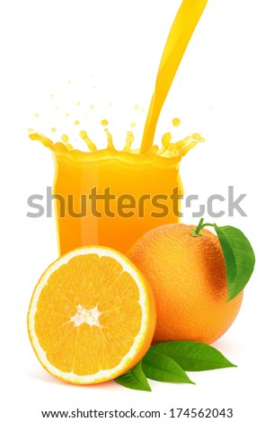 Orange juice pouring into a glass with splash, isolated on the white background, clipping path included. - stock photo