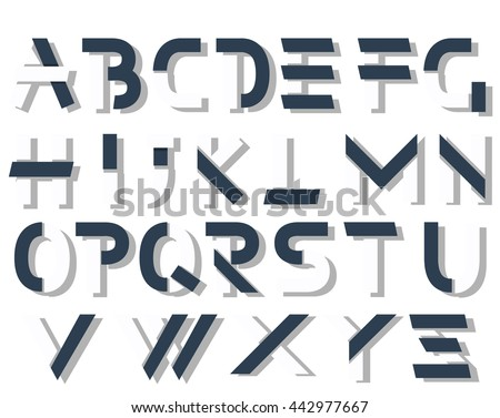 ORIGAMI ALPHABET STYLE WITH SHADOWS BLUE AND WHITE - stock photo