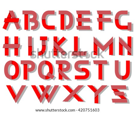 ORIGAMI ALPHABET STYLE WITH SHADOWS RED - stock photo