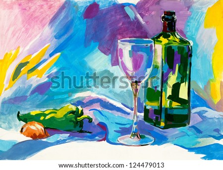 Original abstract water color and  hand drawn painting or   sketch of a bottle,glass,pepper and onion - stock photo