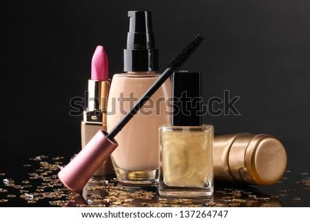 ��¡osmetics isolated on black - stock photo