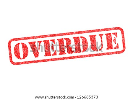 'OVERDUE' red rubber stamp over a white background. - stock photo