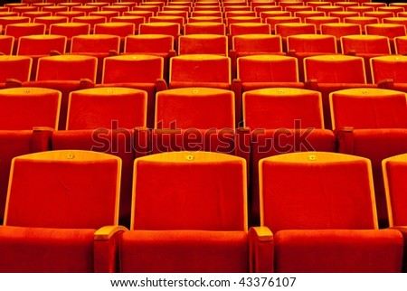 ���ows of red theatre seats - stock photo