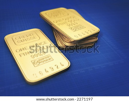 1oz Gold bars on blue background with white grid and stock charts - stock photo