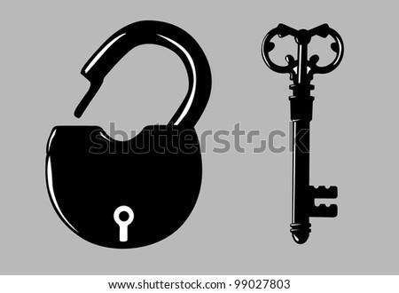 padlock silhouette on gray background - stock photo