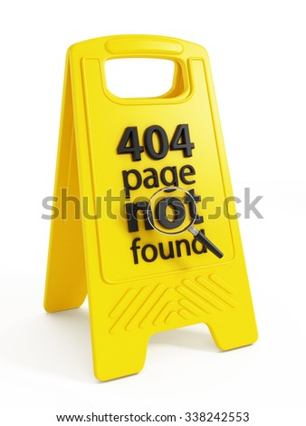 404 page not found text on warning sign - stock photo