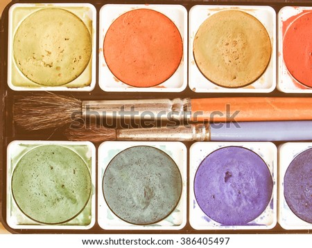 Painting tools colour palette and brushes vintage - stock photo