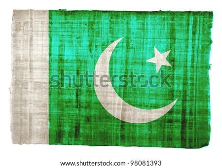 Pakistan flag on original papyrus background - stock photo