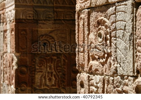 """""""Palace of Quetzal Butterfly"""" wall detail in Teotihuacan pyramid complex, a huge archaeological pre-Columbian pyramid site in Teotihuacan, Mexico - stock photo"""