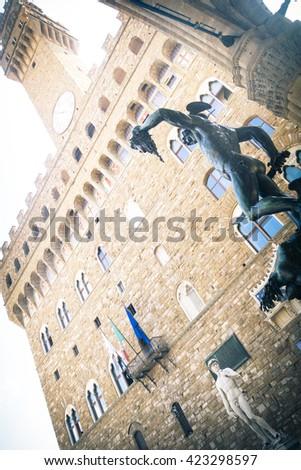 .Palazzo Vecchio. Perseus statue with the head of Medusa , in Loggia de' Lanzi, Piazza della Signoria, Florence. Sculptor Benvenuto Cellini (1545-1554).Florence, Italy - stock photo