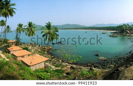 Palolem Beach lagoon, Goa, India. Panoramic from 5 photos - stock photo