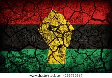 Pan-African Resistance and Solidarity flag pattern on the crack soil texture ,retro vintage style - stock photo