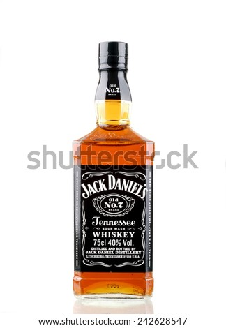 PANAMA,PANAMA-JANUARY 08.2015:  Single Botle of Jack Daniels # 7. Jack Daniel's is a brand of Tennessee whiskey that is the highest selling American whiskey in PANAMA and all over the world.  - stock photo