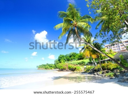 Panorama of Caribbean Sea as seen from Saint Lucia - stock photo