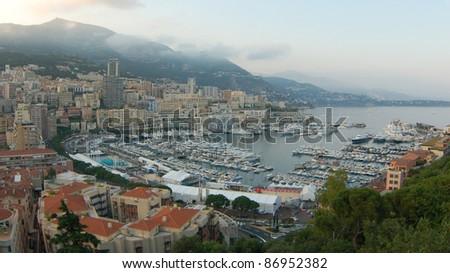 panorama of Monaco marina, Monte Carlo. - stock photo