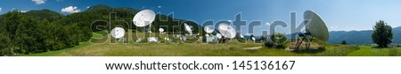 Panorama photo of antennas on the earth station Aflenz ,Styria,Austria. - stock photo